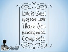Love is Sweet Rubber Stamp  Wedding Rubber Stamp  by GlitterPuff, $24.95