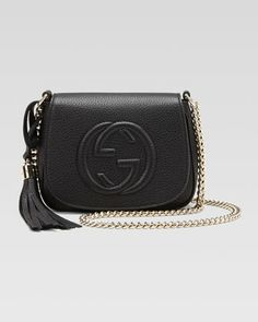 Gucci Soho Leather Chain Crossbody Bag, Black - Neiman Marcus