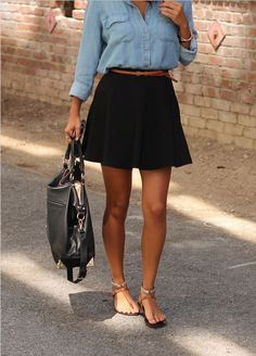 black skirt, summer outfit, casual summer, circle skirts, denim shirts, casual outfits, skater skirts, skirt outfits, spring outfits