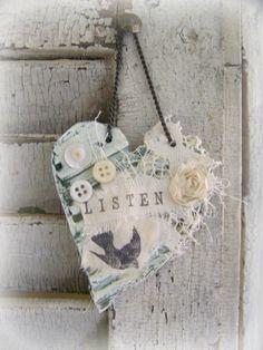 Handmade Heart Ornament Bird Ornament Vintage Bird by QueenBe, $12.50
