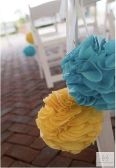 Aqua & Yellow Fabric Pomanders
