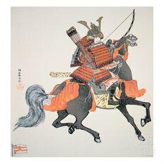 Japanese Samurai Warrior | Tattoo Ideas & Inspiration - Japanese Art | Samurai of Old Japan on Horseback, Armed with Bow and Arrows | #Japanese #Art #Samurai #Warrior #Horse