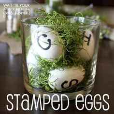 easter idea, apothecary jars, diy stamp, easter decor, easter eggs