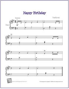 Happy Birthday (Level 4) | Free Sheet Music for Easy Piano - http://makingmusicfun.net/htm/f_printit_free_printable_sheet_music/happy-birthday-intermediate-piano.htm