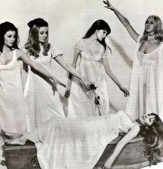 "Kate O'Mara, Pippa Steel, Madeline Smith, Kirsten Betts, and Ingrid Pitt in, ""The Vampire Lovers"" (1970)."