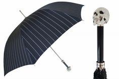 skulls, black pin, skull black, silver skull, stripe rain, pasotti ombrelli, rain umbrella, lux silver, walking sticks