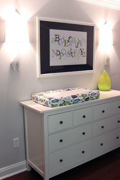 SO need to do this Alphabet print in Lil J's room (hilarious that we have the same Ikea Hemnes dresser for our changing table PLUS a Dwell Studio changing pad cover as well!) {The Lil House That Could}