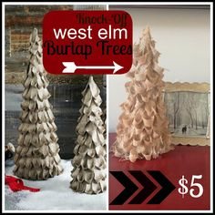 Two It Yourself: DIY {West Elm} Burlap Christmas Tree Knockoff