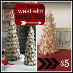 DIY West Elm-inspired Burlap Trees