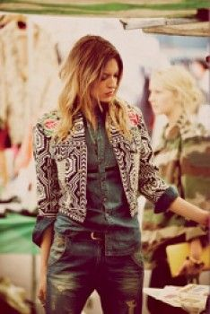 distressed jeans and embroidered jacket~