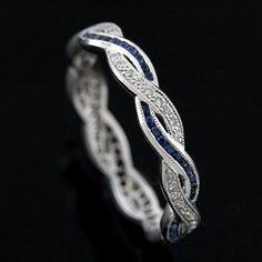 blue and white diamond wedding rings | Diamond Sapphire Infinity Eternity Wedding Ring Band 18K White Gold ...