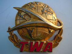 TWA Airline Captains Pilot Hat Badge Pin