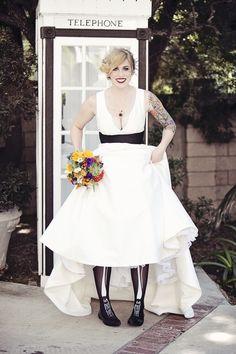 Halloween bride = skeleton tights! (photo by April Smith)