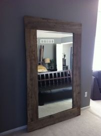 Reclaimed barn wood mirror! love!