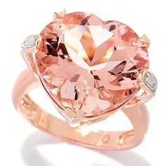 120-783 - Gem Treasures 14K Gold 10.02ctw Morganite & Diamond Heart Shaped Ring...Was this Made for me??;) loving Rose gold.