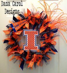 University of Illinois  Team Spirit Wreath by DanaCarolDesigns,
