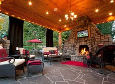 traditional design, living spaces, fireplac, dream, outdoor living areas, covered patios, hous, outdoor curtains, outdoor spaces