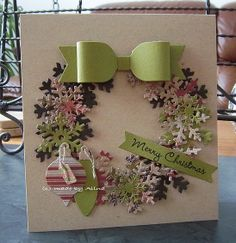 christma card, christmas wreaths, christmas cards, wedding cards, paper, punch art, bows, puzzle pieces, snowflak
