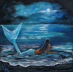 Mermaid Painting Original Canvas Beach Shore by LeslieAllenFineArt, $120.00