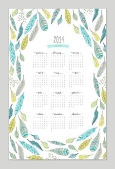 Printable Feather Calendar - 2014 Calendar - 11x17 Wall Calendar