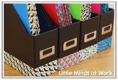 Getting the Classroom Back to School Ready {Custom Writing Folders} Using tape to organize.