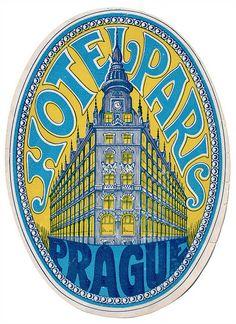 Vintage Luggage Label - Hotel Paris in Prague