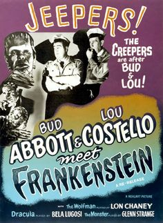 """A comic horror film in which Abbott and Costello encounter Frankenstein's monster, Dracula, and a mad scientist."" Find ABBOTT & COSTELLO MEET FRANKENSTEIN in our catalog: http://highlandpark.bibliocommons.com/item/show/643081035_bud_abbott_amp_lou_costello_meet_frankenstein"