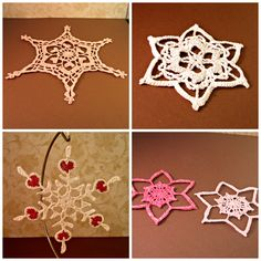 Fancy snowflakes from #HeritageHeartcraft ~ Large light sparkle pink, about 7 inches across. ~ Medium sparkle white, about 5 inches. ~ Medium sparkle white with red hearts, about 5 inches. ~ 2 heart flakes, dark sparkle pink and light sparkle pink. thread crochet snowflake