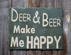 Wood Sign Men Gift Fathers Man Camo Deer & Beer Make Me Happy Man Cave Home Decor Wood Sign Painted Cammo Rustic Primitive Distressed  Wood on Etsy, $43.00