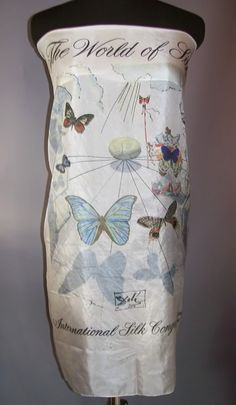 rare 1950s silk scarf by Salvador Dali for the International Silk Congress depicting phases of the silk worm/moth