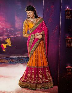 USD 129.08 Magenta and Orange A Line Wedding Lehenga Saree   33515