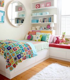 kids bedroom shelves, kids room decor for girls, kid rooms, bedroom colours for girls, window seats, home decor kids bedroom, bright colors, bright colours, girl rooms