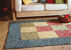 Instant PDF Download Old Vintage Easy Beginner Knit Knitted Knitting Pattern Patchwork Accent Rug Home Decor