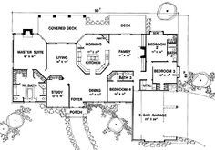 Home Plans HOMEPW06727 - 3,132 Square Feet, 4 Bedroom 3 Bathroom Ranch Home with 3 Garage Bays - not perfect but worth a look
