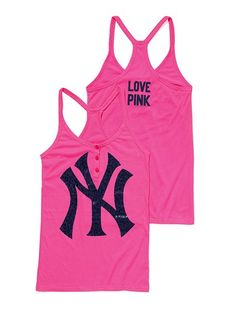 New York Yankees Henley Racerback Tank - Victoria's Secret Pink