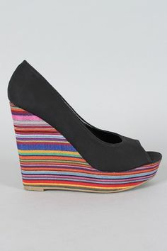 Striped Peep Toe Wedge via UrbanOg.com - $28