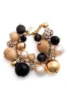 wood, crystal, pearl & gold-plated beads