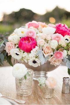 LOVE this lush floral arrangement. floral centerpieces, wedding centerpieces, wineri