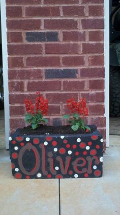 Painted Cinder Block--should paint with house numbers