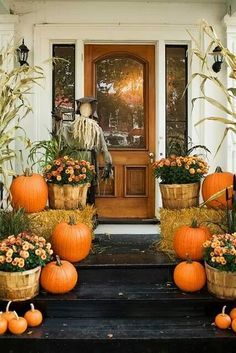 Fall front door: mums, pumpkins scarecrows