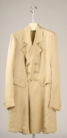 This is a frock overcoat made for men. It was made in 1850. It was cut similar to a frock coat but longer.