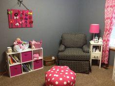 Love the hot pink polka dot ottoman and damask curtains.  #hotpink #gray #nursery #polkadot #ottoman #damask