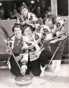 vintage photo of ladies curling
