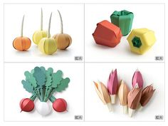 Frutas y verduras de papel