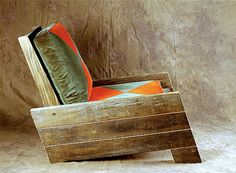 Reclaimed Wood Chair  #reclaimed #recycled #wood armchair, funky chairs, reclaimed wood projects, product design, recycled furniture, recycled wood, reclaimed wood furniture, patio, pallets