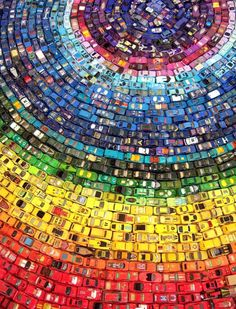 Rainbow Toy Car Installation Made from 2,500 Cars (by UK artist David T. Waller)
