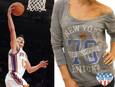 Get involved in the Linsanity with your Junk Food off the shoulder Knicks tee!  #Jeremylin  #knicks   www.junkfoodclothing.com