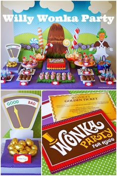 Willy Wonka Birthday Party - golden eggs, golden tickets, and fizzy lifting drinks!
