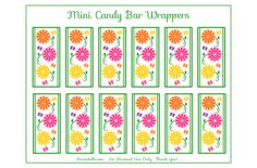 Free Garden Party Printables: Mini Candy Bar Wrappers