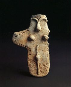 Board-formed clay figure, Dogu. B.C.3500-B.C.2500. Jomon Period. Tohoku Region, Japan.  Image via Pinterest